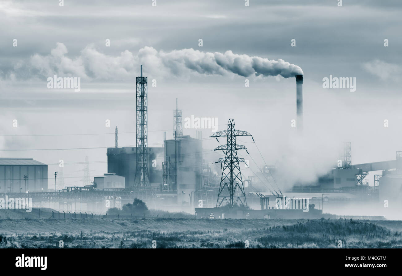 Titanium Dioxide chemical plant near Teesmouth Nature Reserve. Greatham works Tees rd. Hartlepool. UK - Stock Image