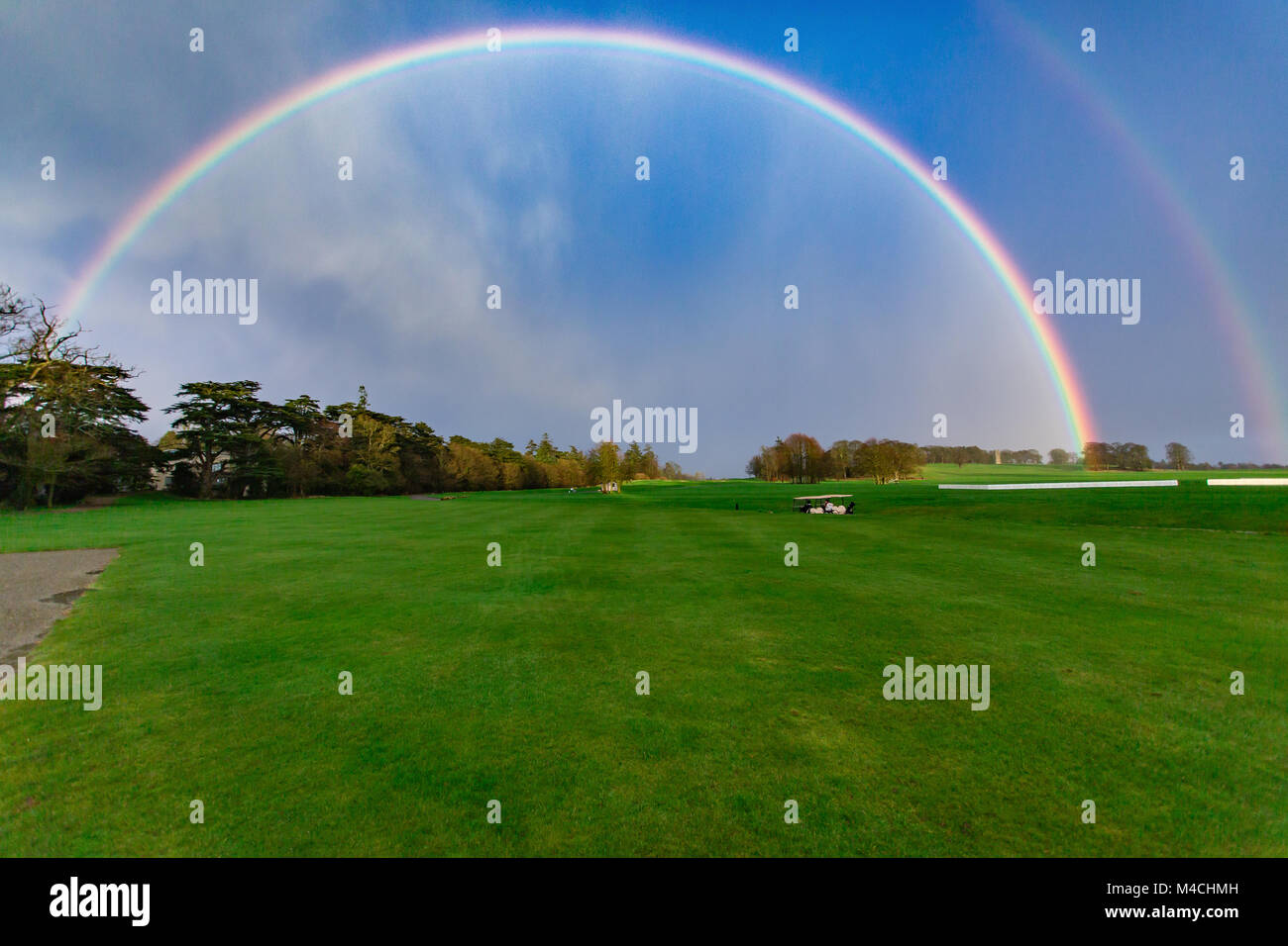 Beautiful rainbow over Carton House Golf Course in Maynooth, co, Kildare, Ireland - Stock Image