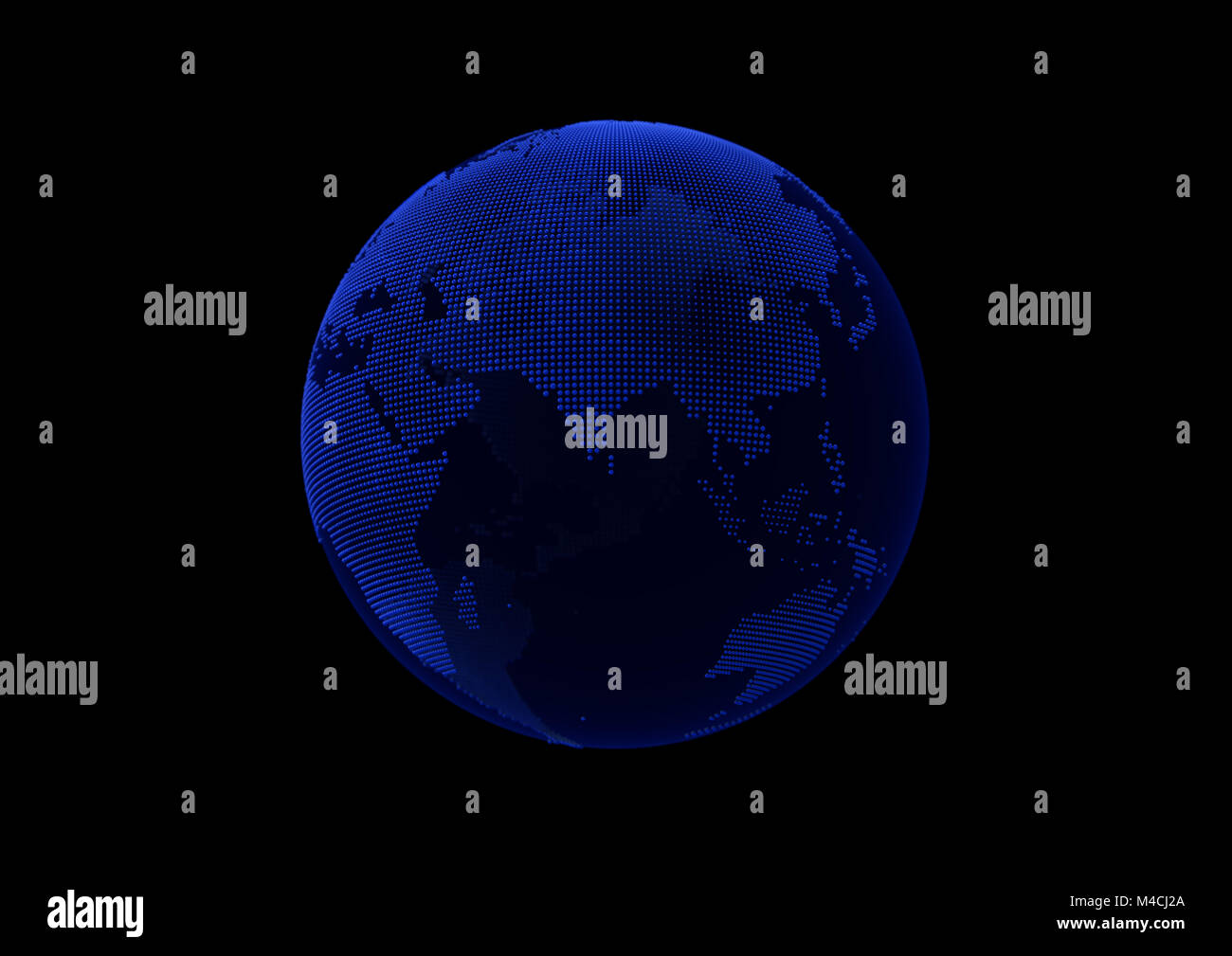Blue point world globe map on dark background with alpha mask. - Stock Image