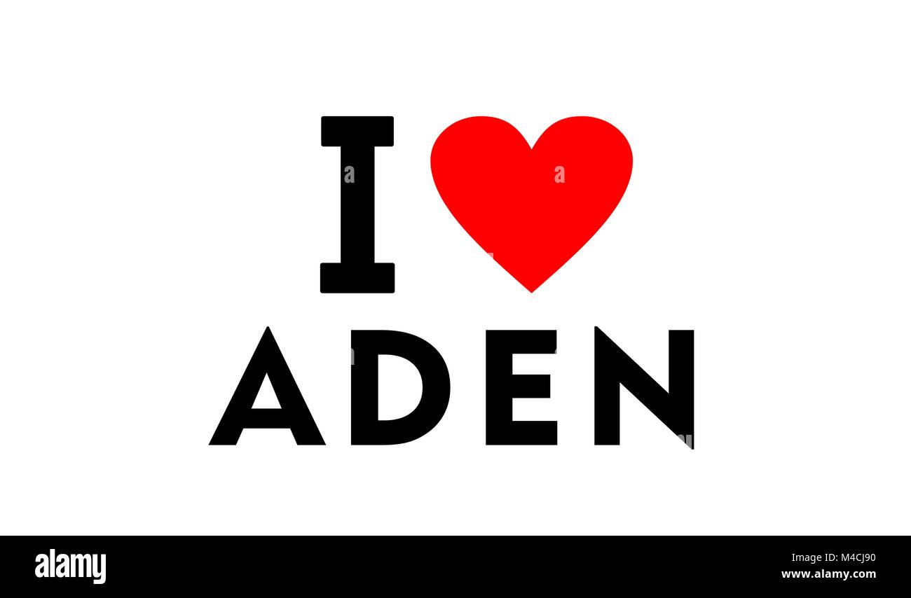 I love Aden city Yemen country heart symbol - Stock Image