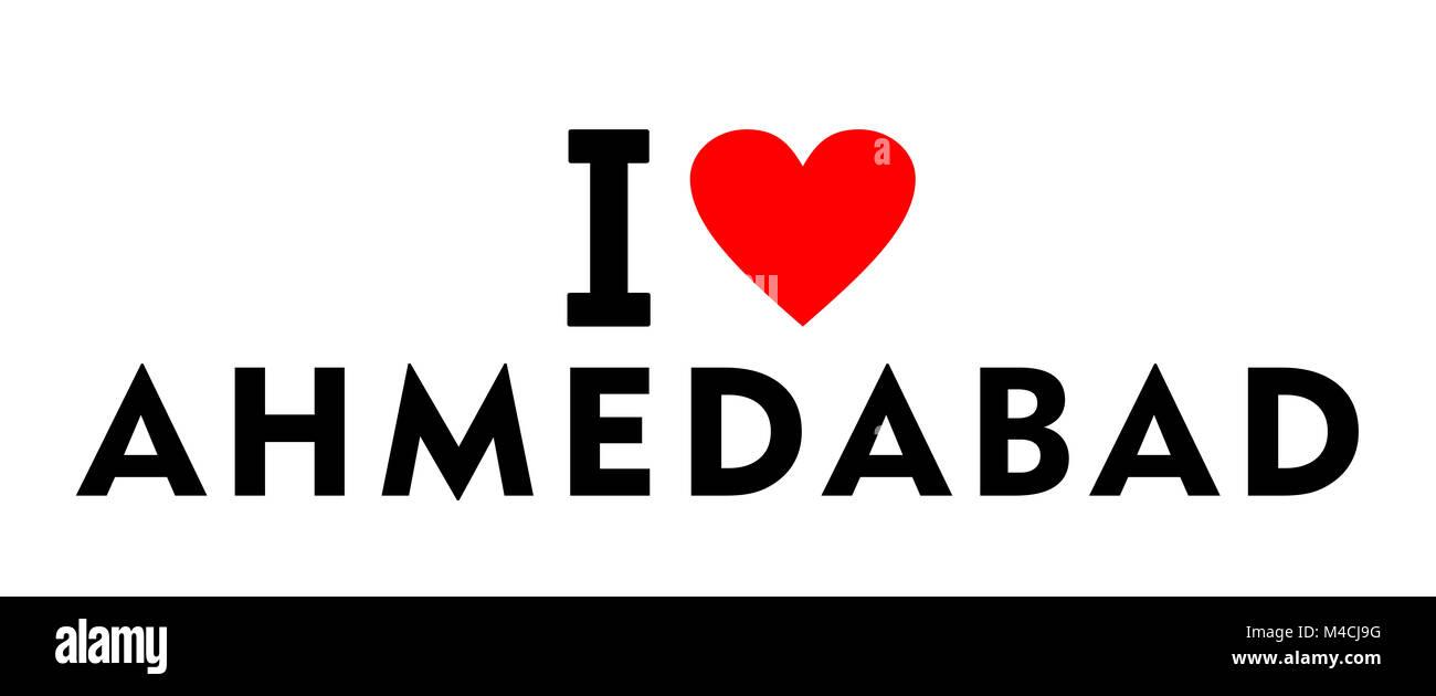 I love Ahmedabad city India country heart symbol - Stock Image