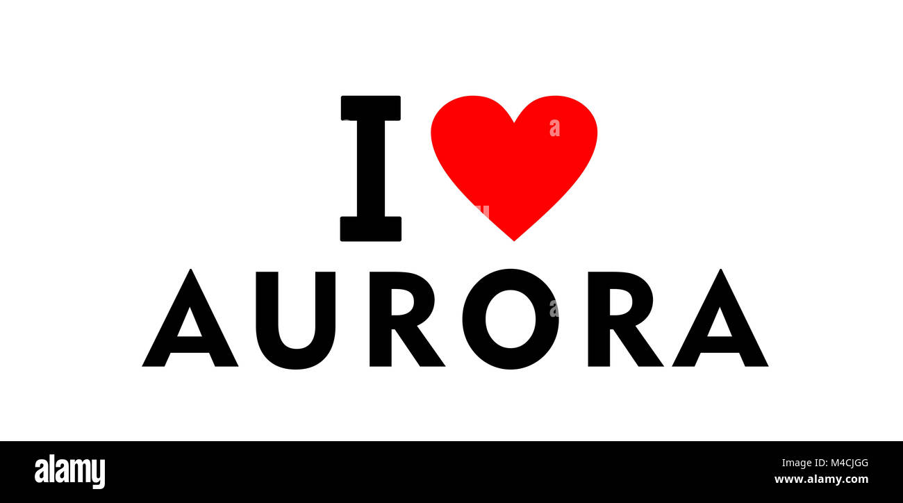 I love Aurora city United States country heart symbol - Stock Image