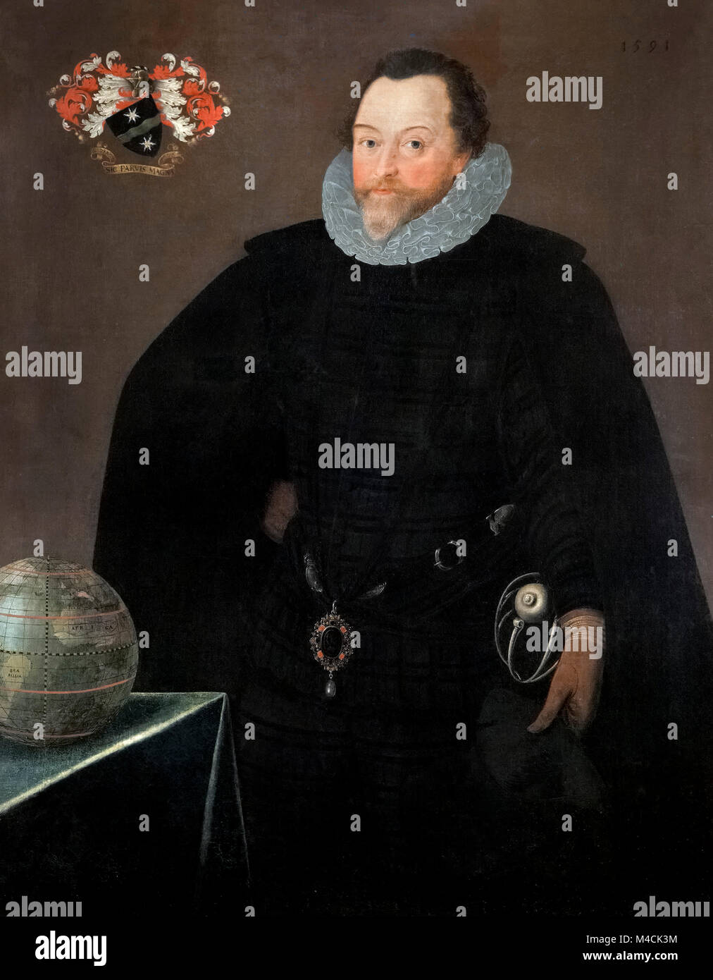 Francis Drake. Portrait of Sir Francis Drake (1540-1596), by Marcus Gheeraerts, oil on canvas, 1591 - Stock Image