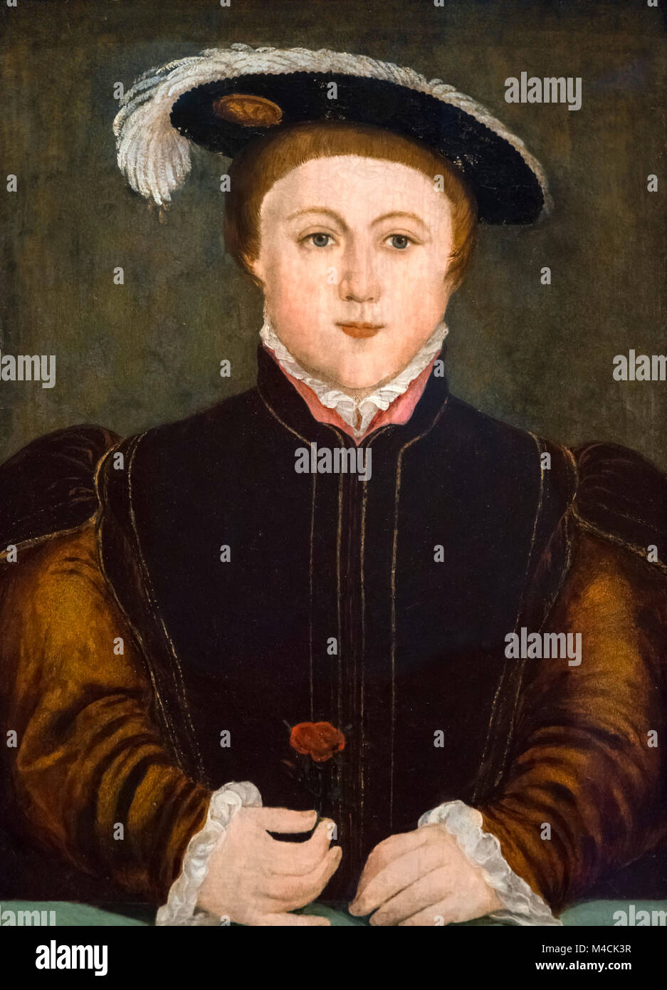 Edward VI. Portrait of King Edward VI of England (1537-1553), oil on panel, after Hans Holbein, 16th century. - Stock Image