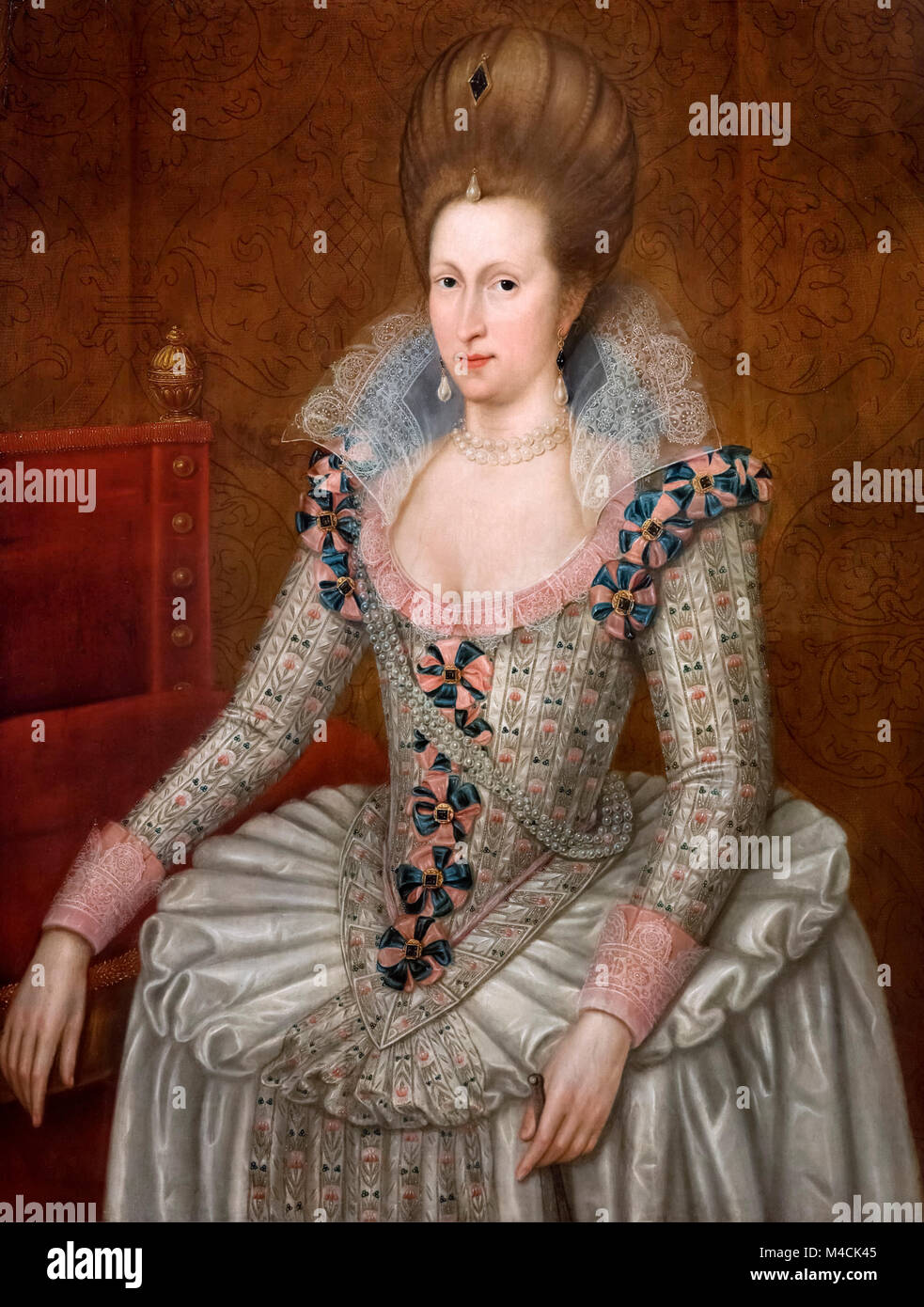 Anne of Denmark, Queen consort of King James I of England and VI of Scotland, by follower of John De Critz the Elder, - Stock Image