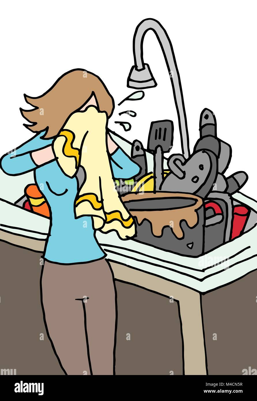 An image of a crying woman doing dishes. - Stock Vector