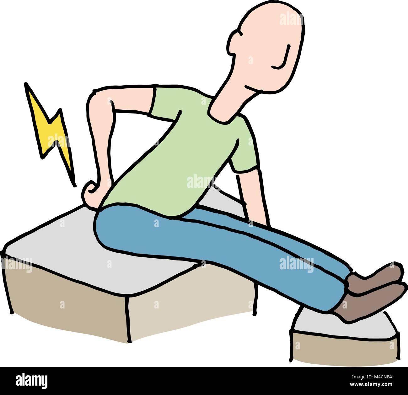 An image of a Man with back pain problem. - Stock Vector