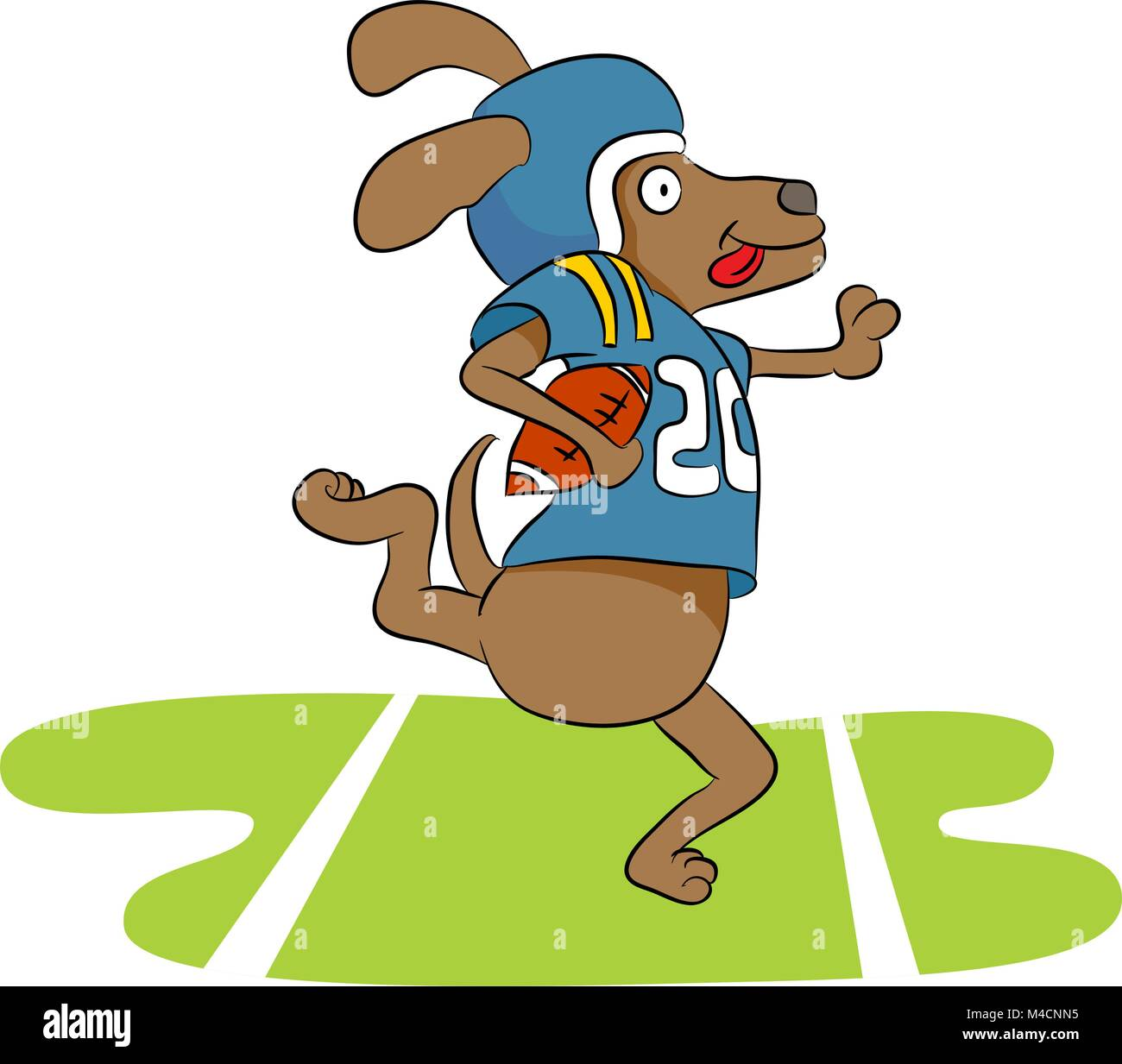 an image of a dog football player stock vector