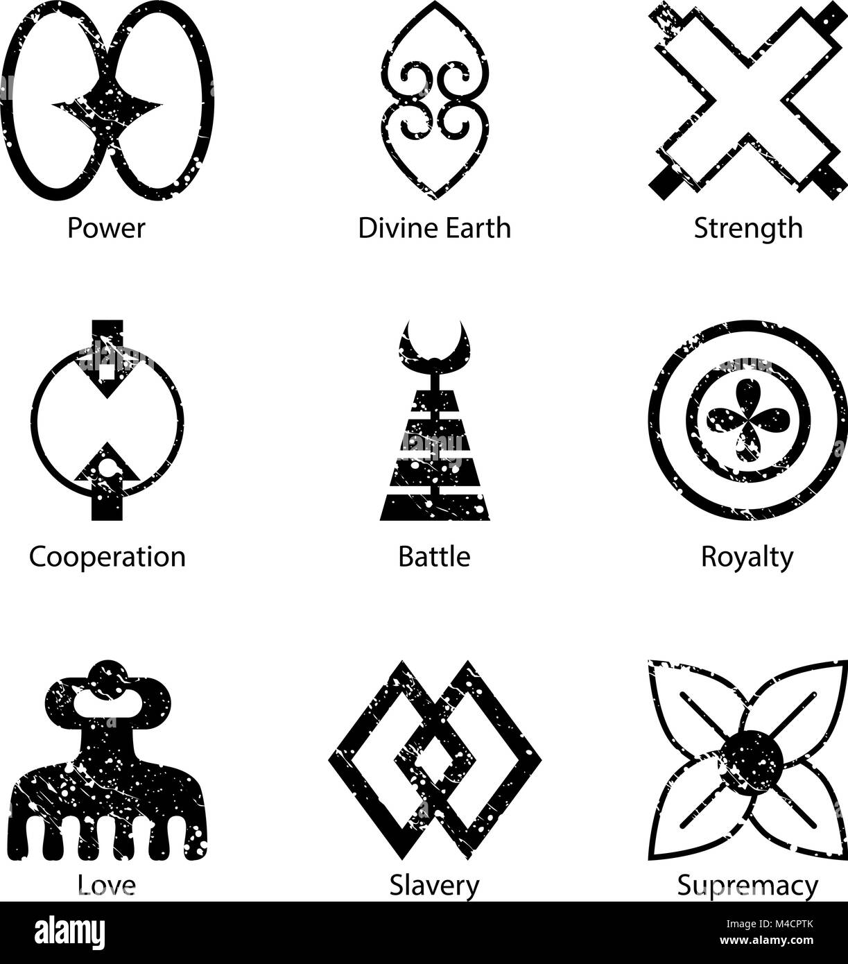 An Image Of An African Adinkra Symbol Icon Set Stock Vector Art