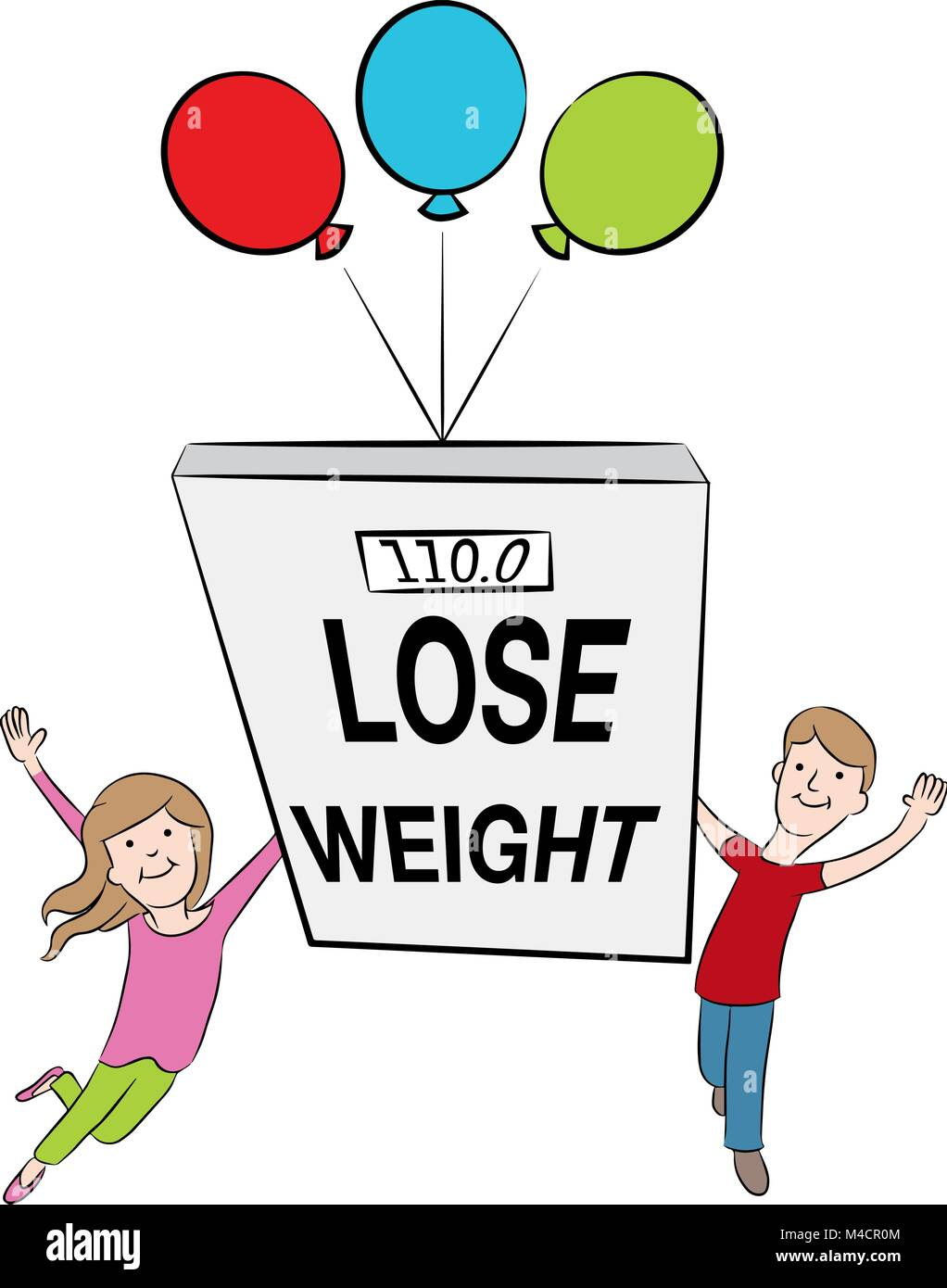 An Image Of Cartoon Kids Supporting Weight Loss And Being Healthy Stock Vector Image Art Alamy