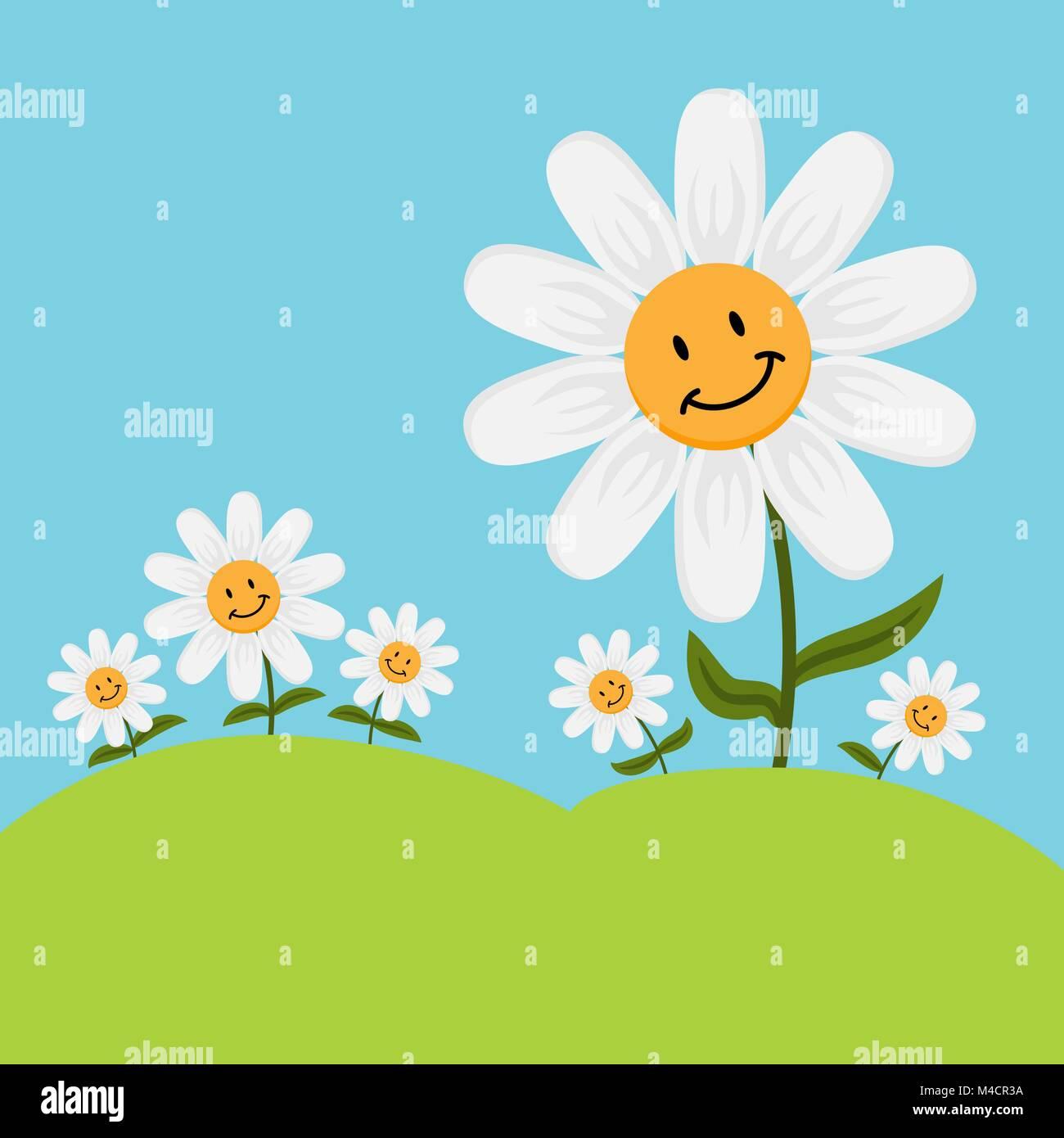 Clip art daisy stock photos clip art daisy stock images page 5 an image of cartoon smiling daisy flowers stock image izmirmasajfo
