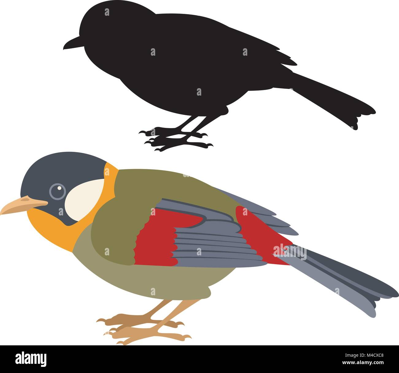 Gouldian Finch  vector illustration flat style  black  silhouette - Stock Vector