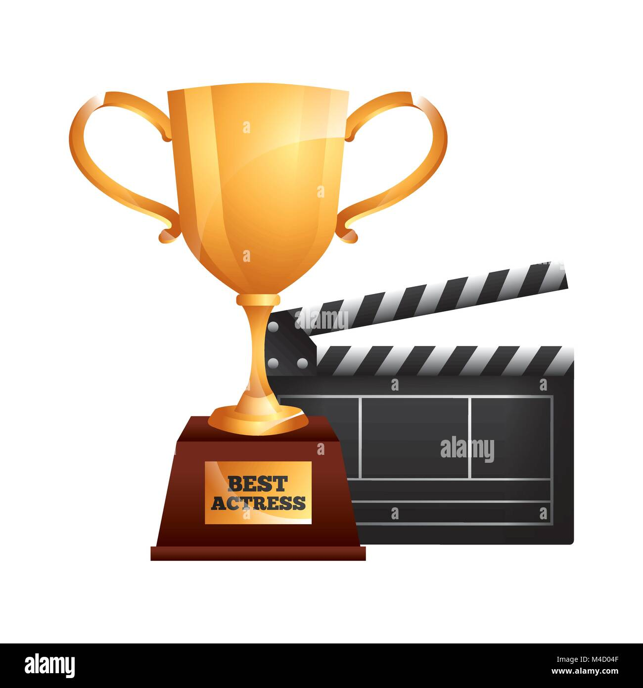 best actress trophy cup and clapper film - Stock Image