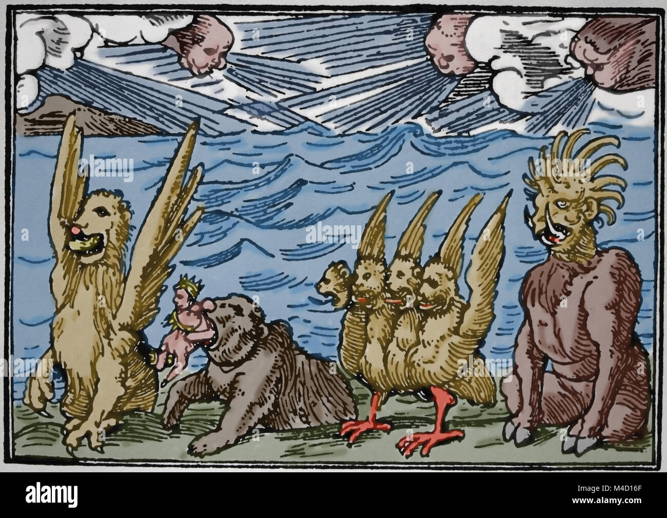 Demons by Hans Holbein the Younger. 'Historiaurm Veteris Testamenti Icones', 1543. - Stock Image