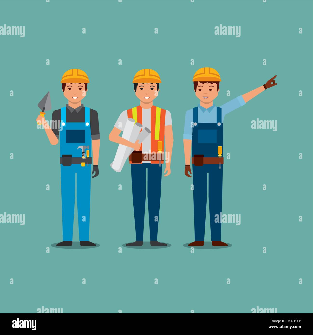 Worker uniforms stock photos worker uniforms stock images alamy construction workers holding blueprint spatula with uniforms stock image malvernweather Choice Image