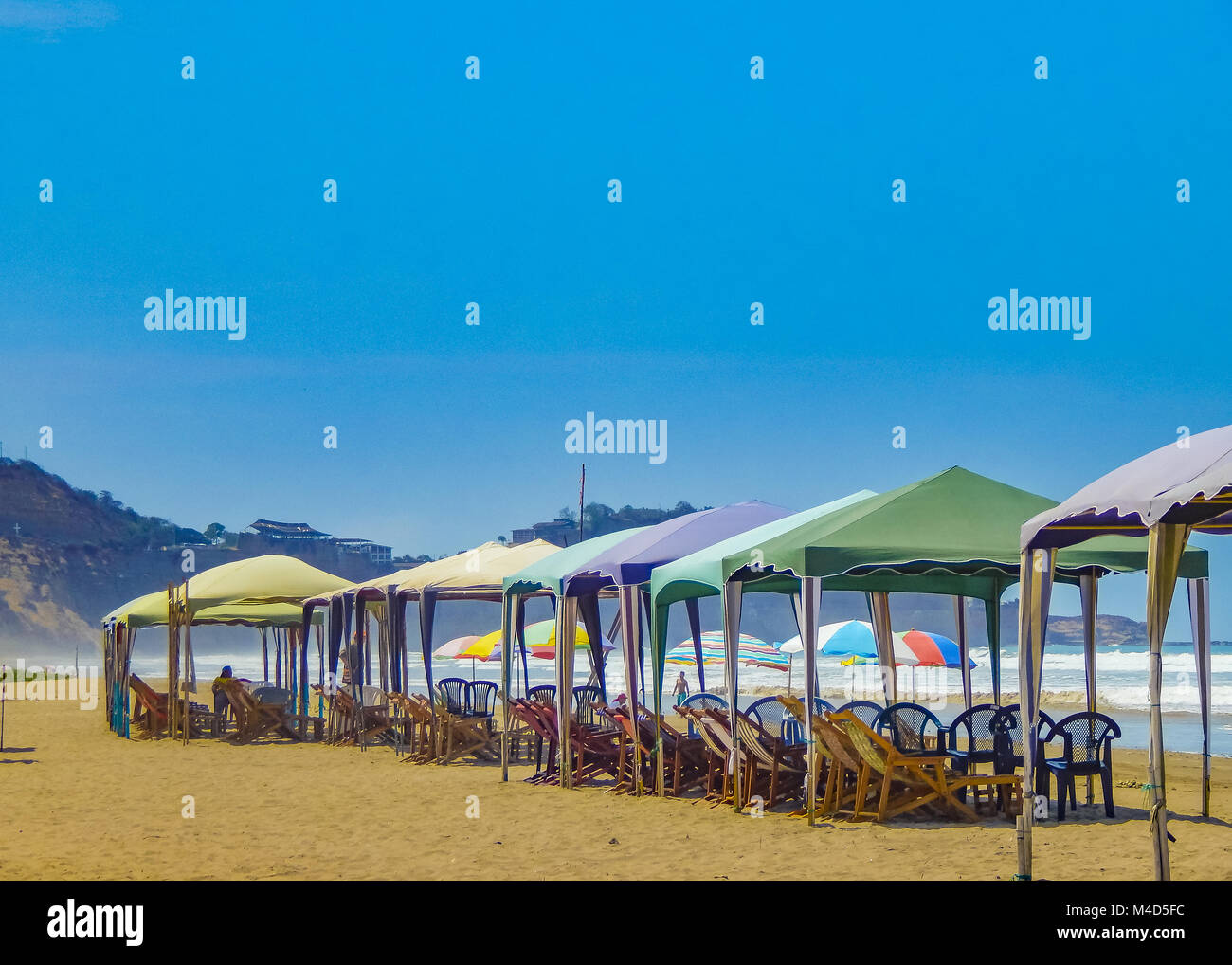 Tents at Beach Olon Ecuador - Stock Image