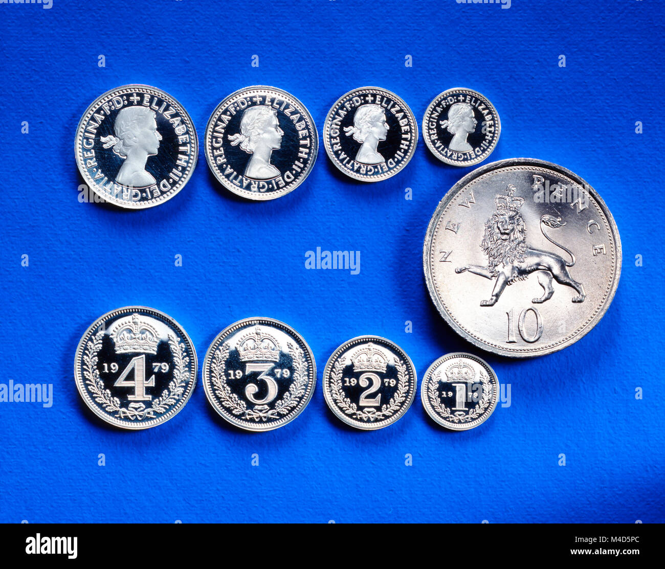Maundy coins, accompanied by a regular ten pence coin to show scale. The small sterling silver coins are givenn - Stock Image