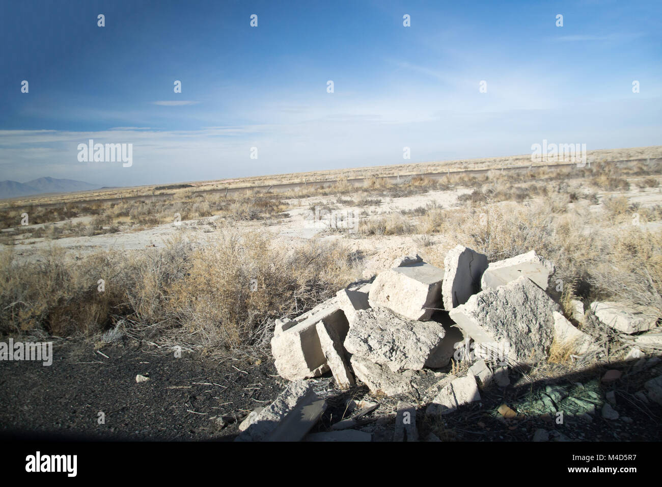 The rubble of the historical monument topaz internment camp where japanese americans were imprisoned during the - Stock Image