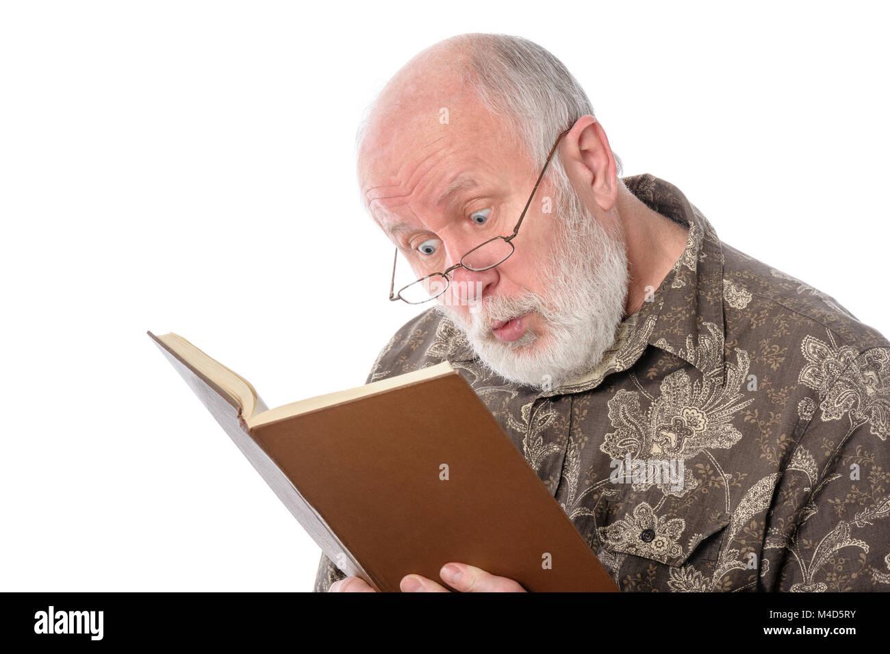 Cheerfull senior man isolated on white - Stock Image