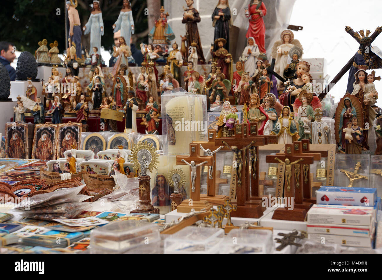 devotional objects on sunday market in Teror around the basilica - Stock Image