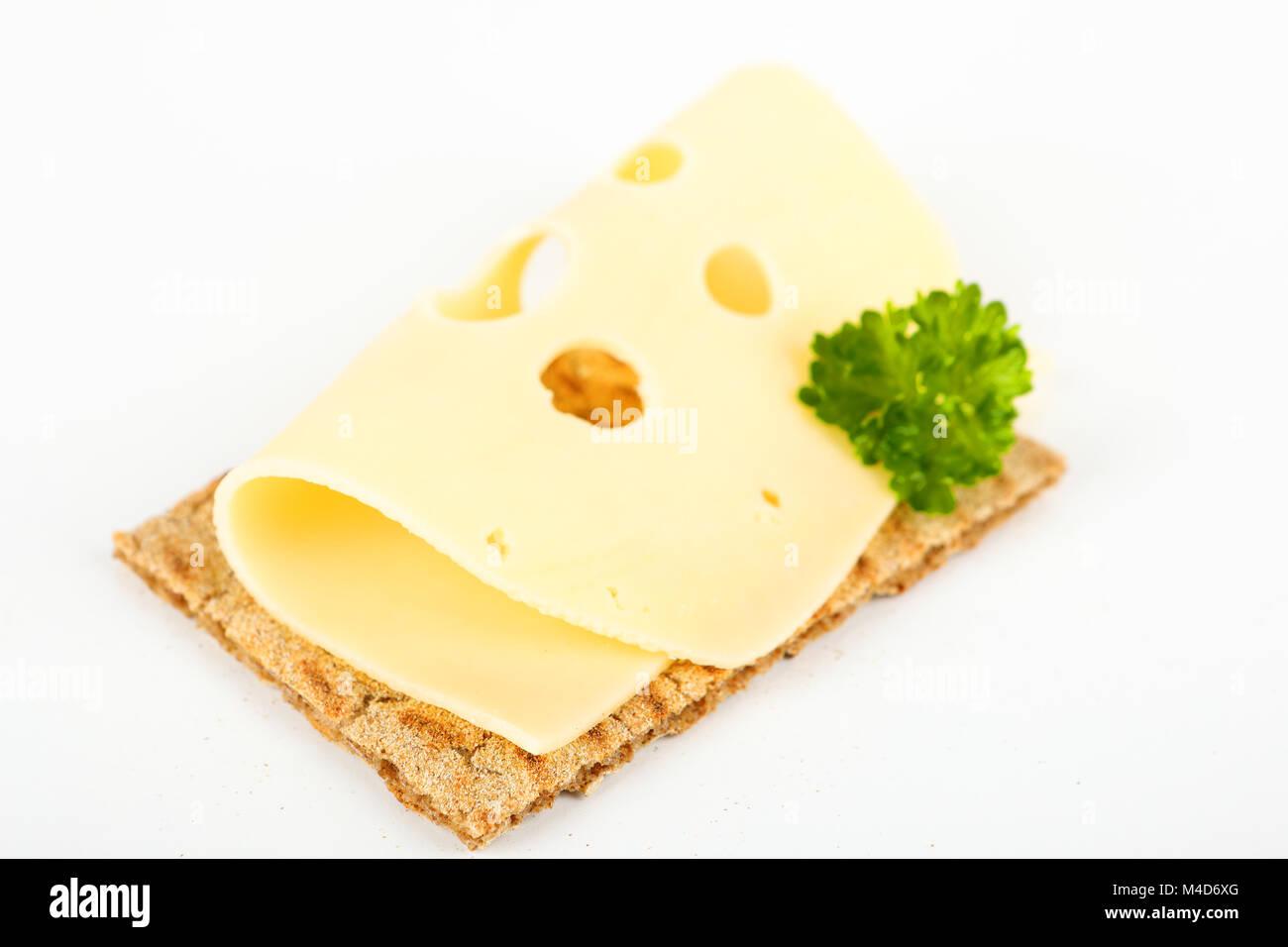 crispbread with cheese - Stock Image