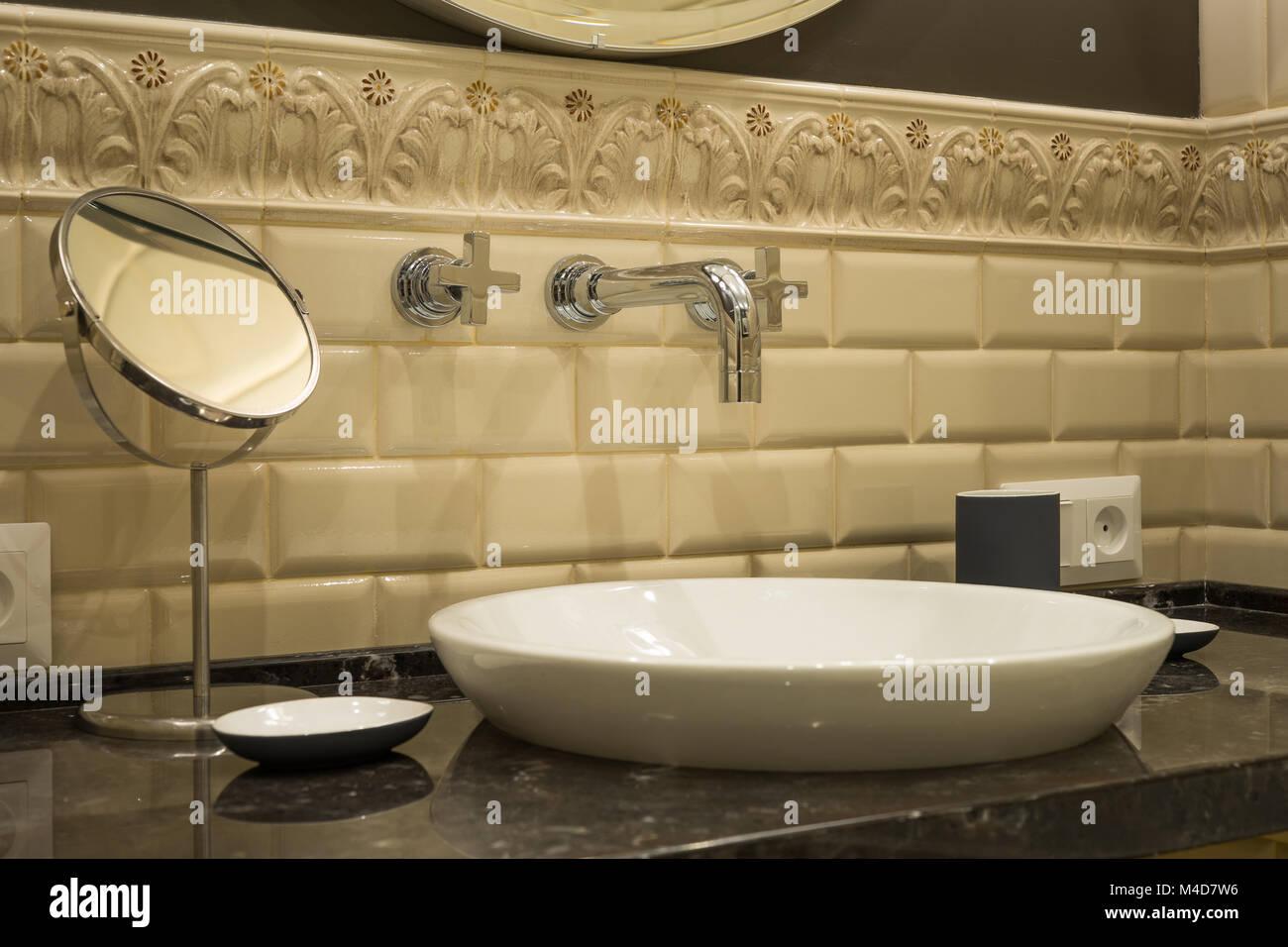 Washbasin faucet mirror in a luxurious bathroom Stock Photo ...