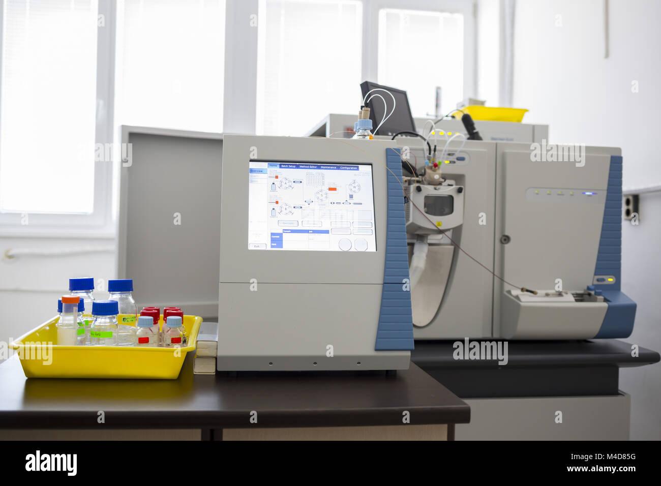 Microbiology modern equipment laboratory - Stock Image