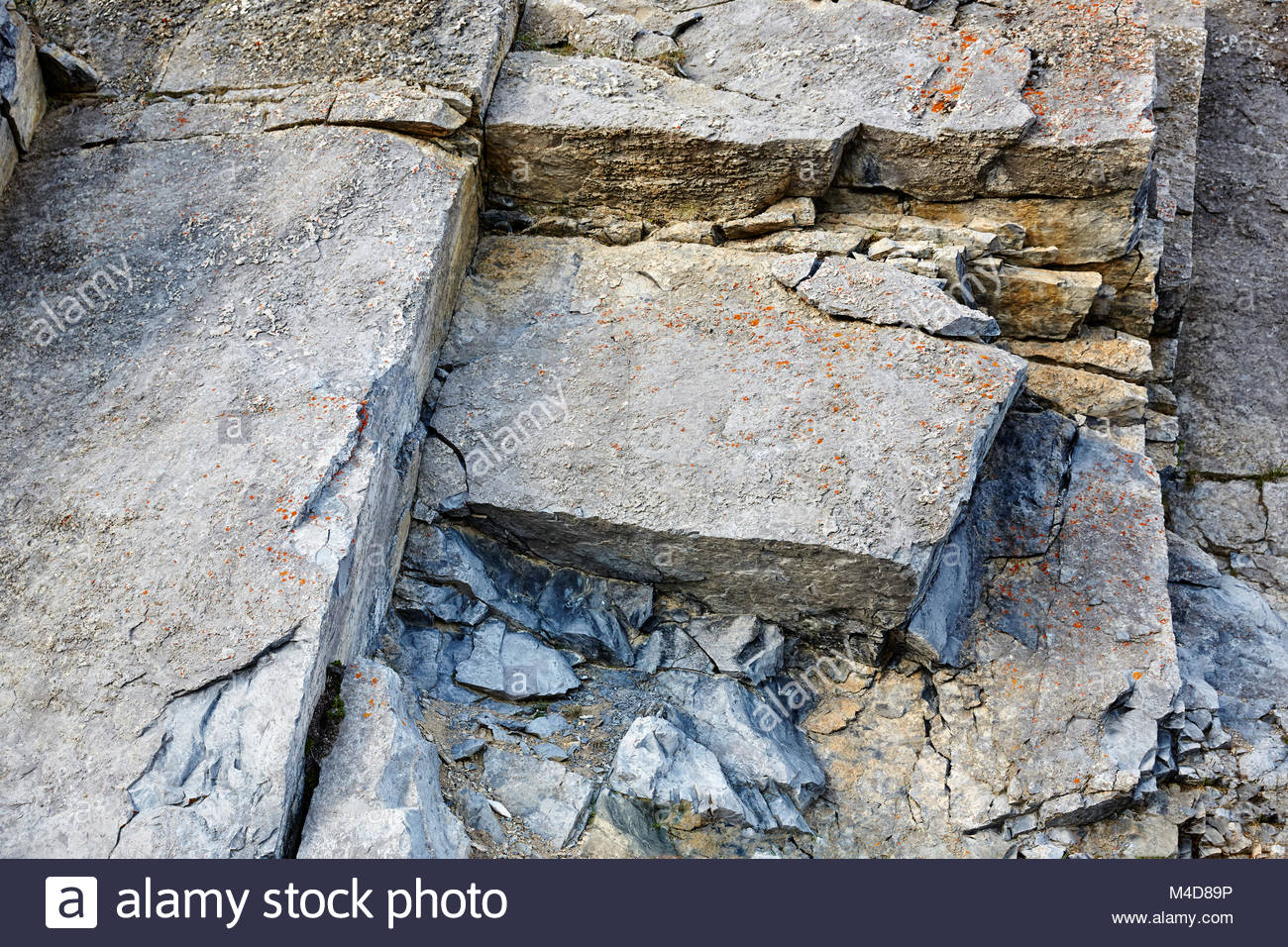 Close up of a rough and jagged Granite, Rock formation on the Canadian Rockies, mountain range. - Stock Image