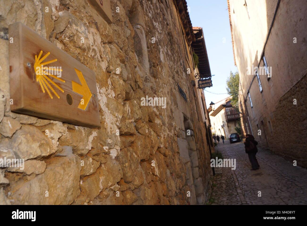 way of st.james in santillana del mar,northern spain - Stock Image