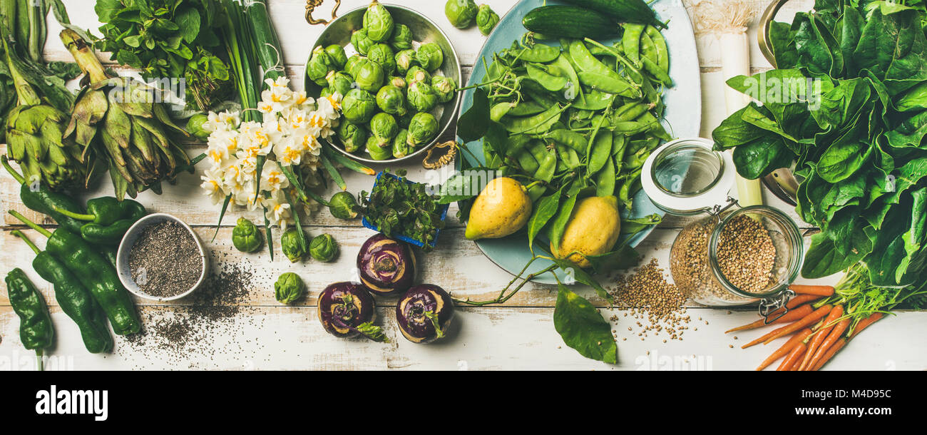 Spring healthy vegan food cooking ingredients, top view - Stock Image
