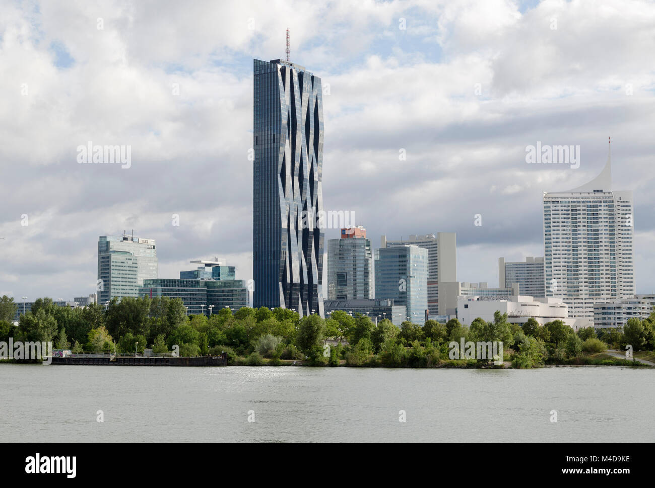 Danube city, the modern city across the Danube river from Vienna, Austria. Also known as Danube island. - Stock Image