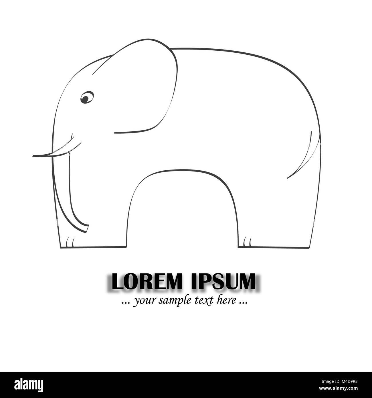 simplified elephant - variation - Stock Image