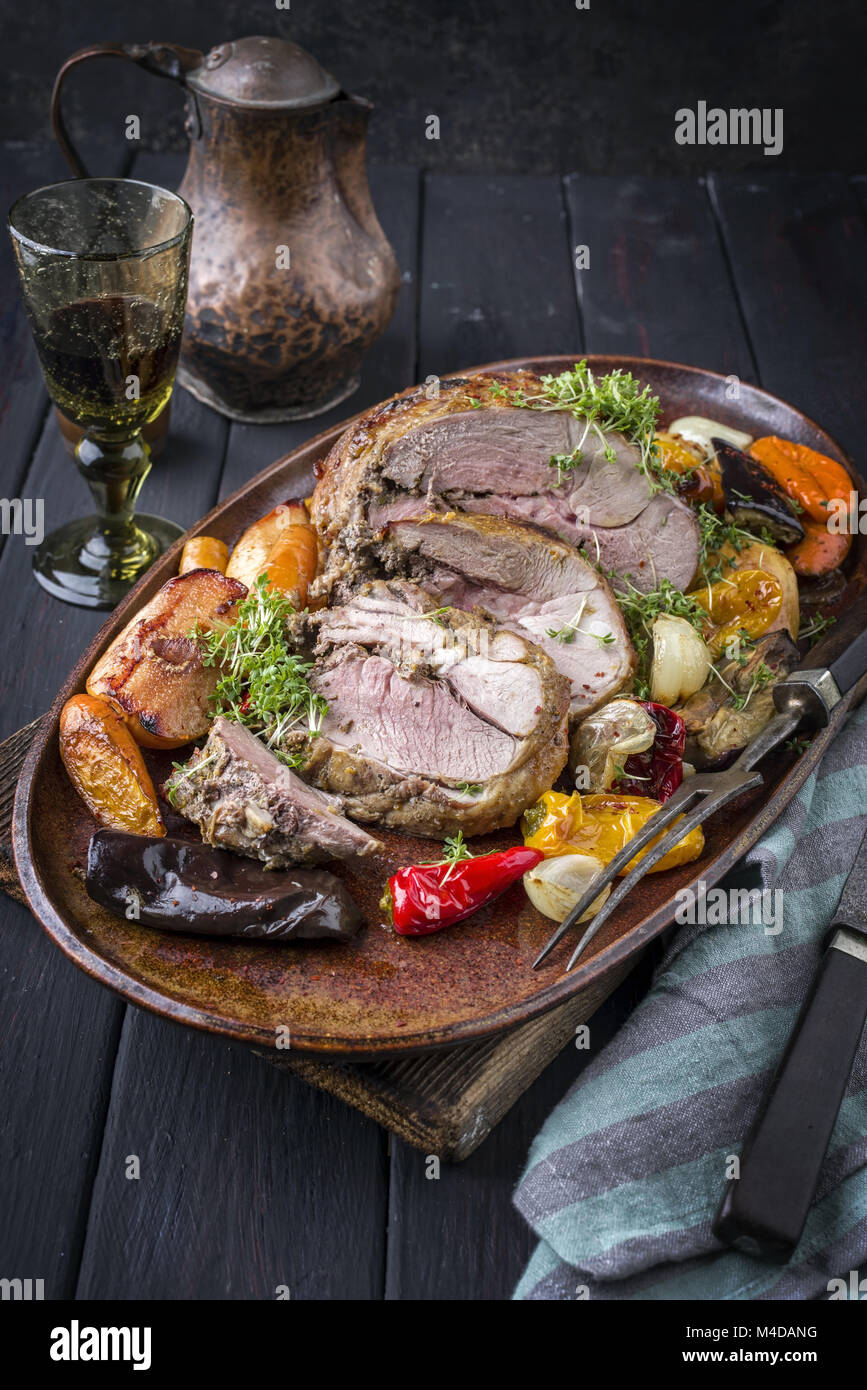 Leg of Lamb with Fruit and Vegetable - Stock Image