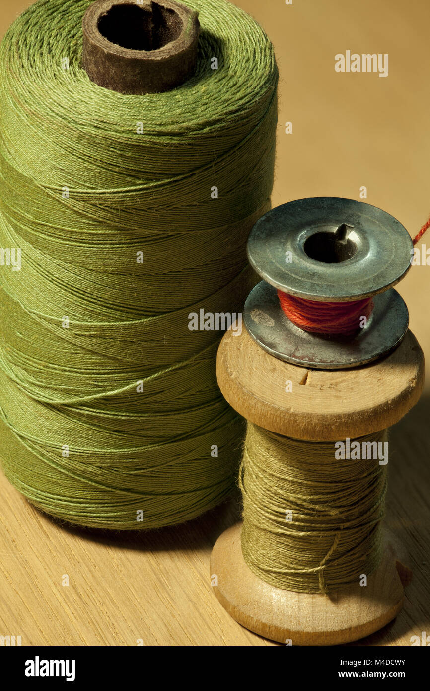 different sizes coil of thread - Stock Image