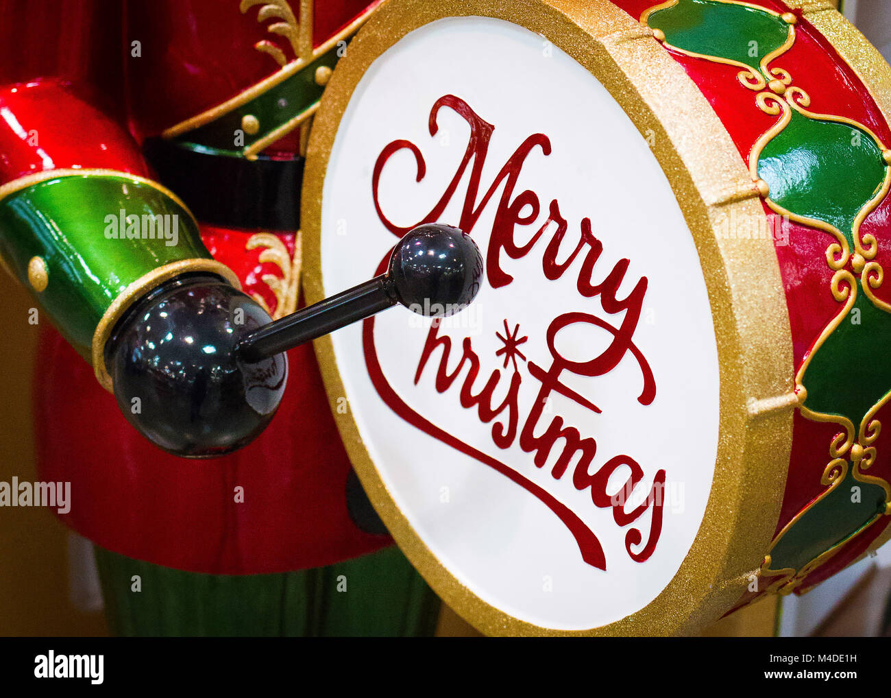 Christmas Drum.Christmas Drum With Words Closeup Colored Red And Green