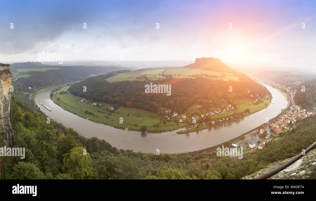 Outlook from castle Koenigstein in Saxony, Germany - Stock Image