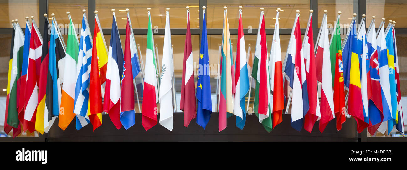 Flags of the European Union - Stock Image