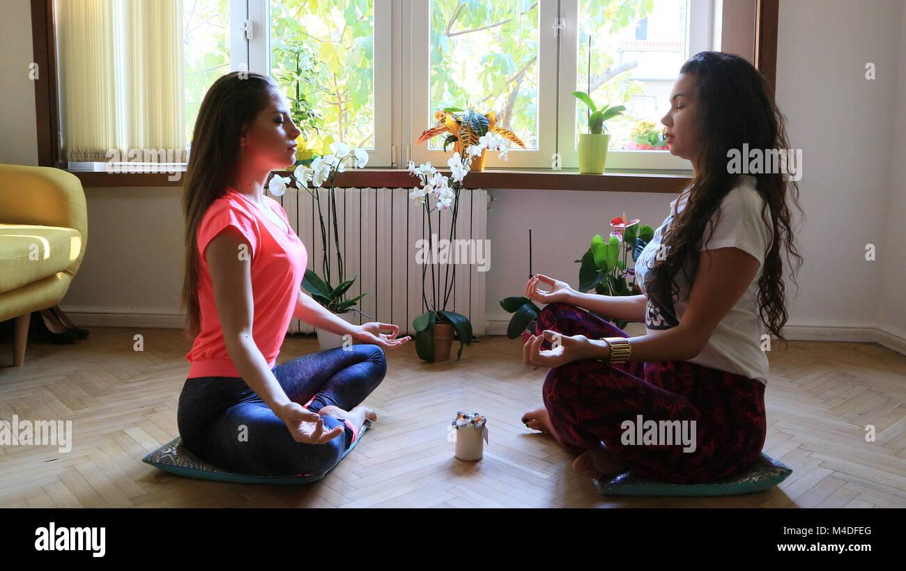 Meditation after yoga - Stock Image