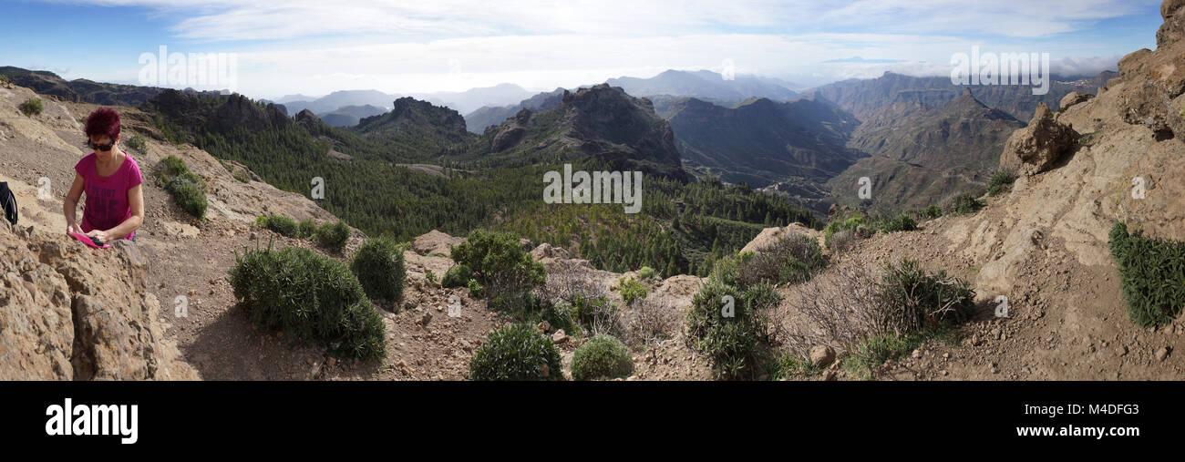 Hike around Roque Nublo in Parque Rural del Nublo Stock Photo