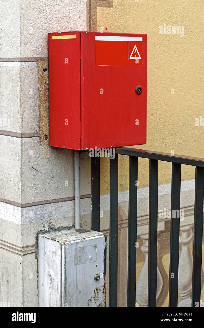 Breaker Box Stock Photos Images Alamy Electrical Fuses On Red Image