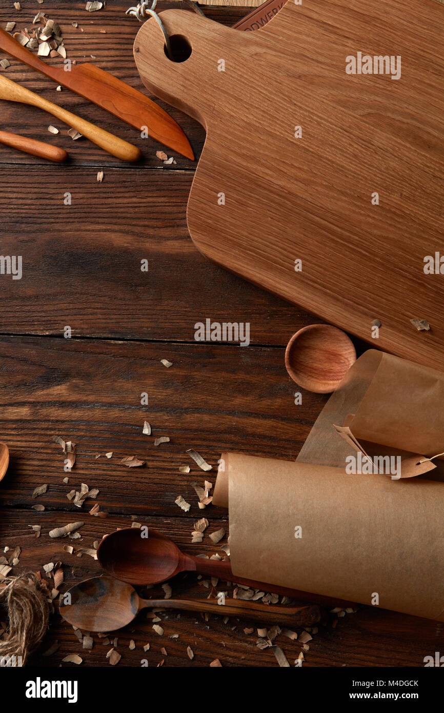 Composition of kitchen devices on wooden table - Stock Image
