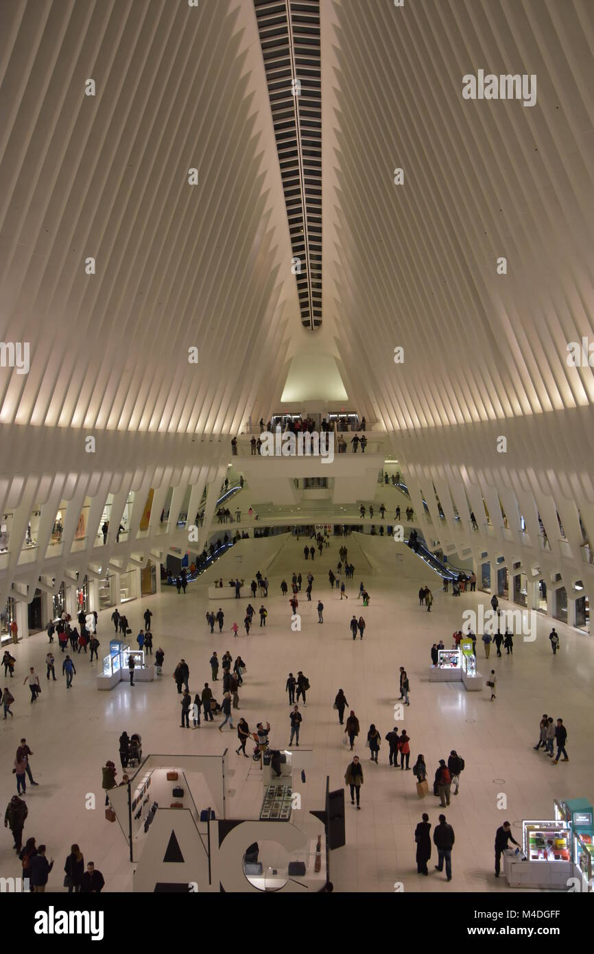 Inside the Oculus of the Westfield World Trade Center Transportation Hub in New York Stock Photo