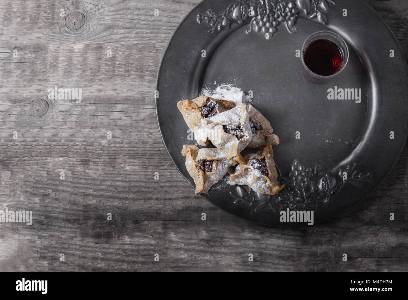 Jewish Pastry Hamantaschen on a table for Purim Holiday. - Stock Image