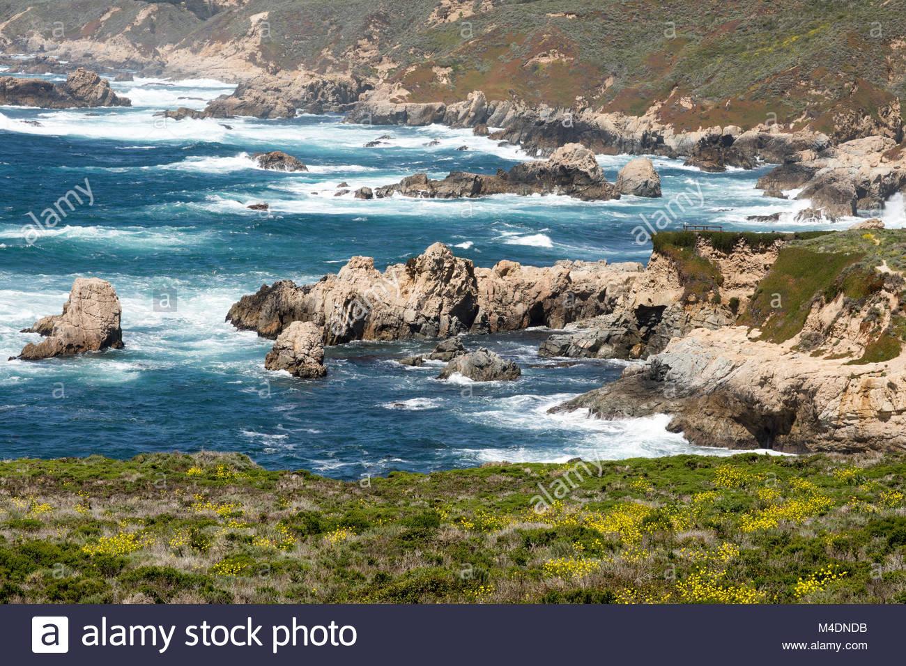 Garrapata State Park Coastal Views at Springtime. - Stock Image