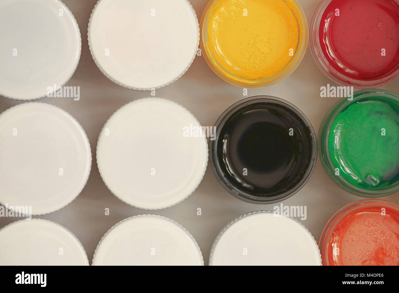 Colorful Gouache set of artistic cans - Stock Image