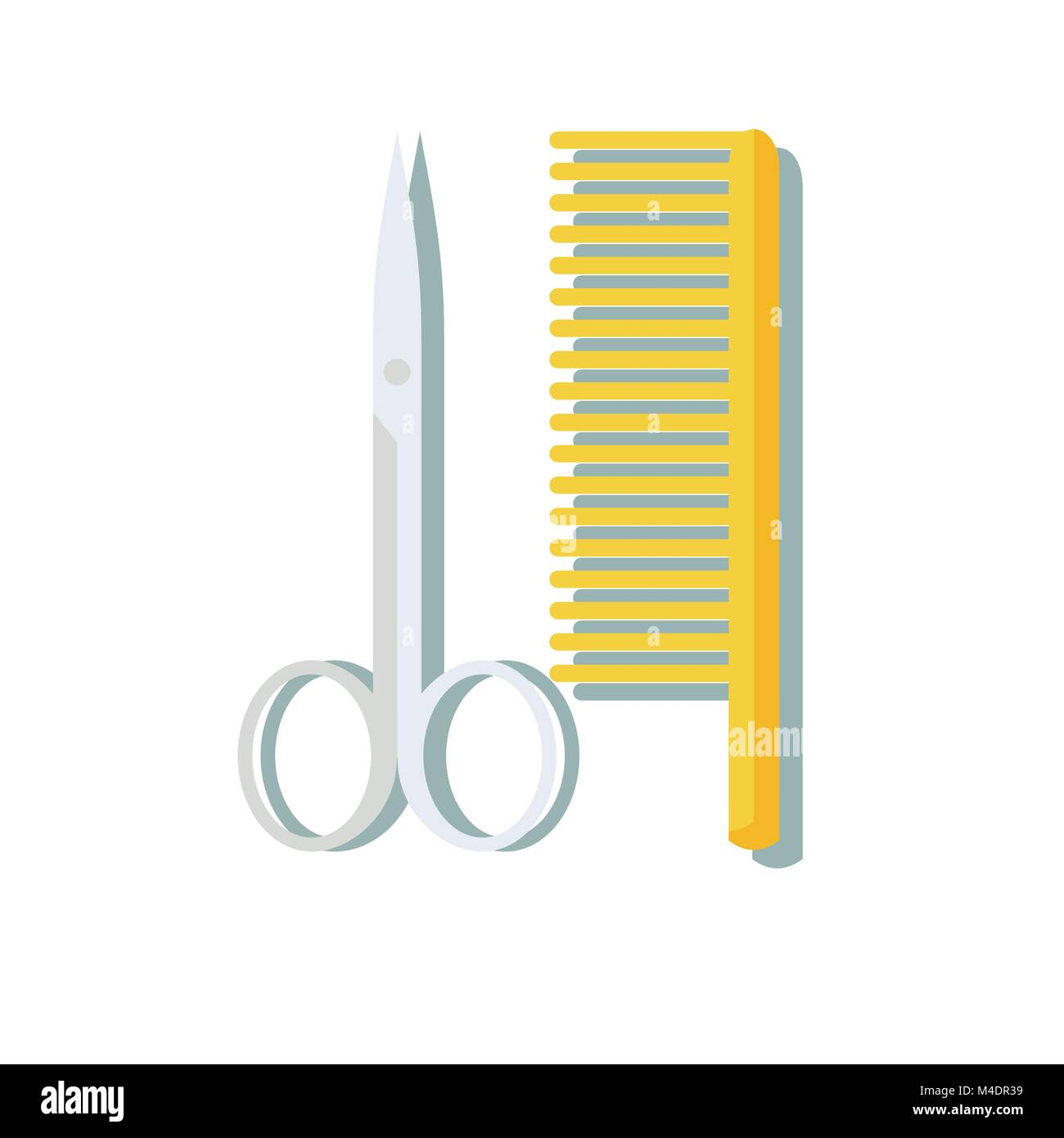 hairdressing scissors and comb isolated on white Stock Vector