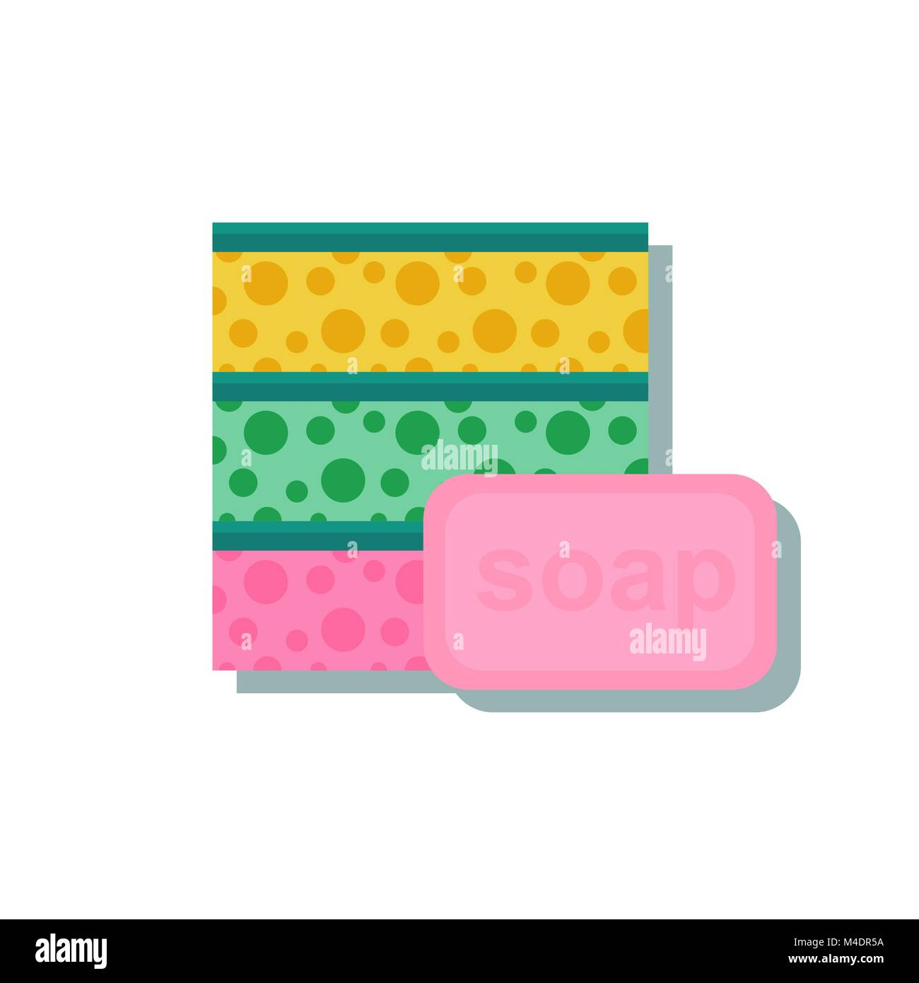 sponge with a piece of soap. Stock Vector
