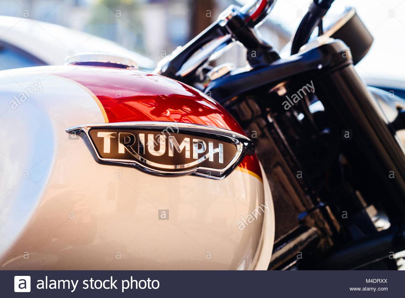 Triumph motorcycles logotype on vintage bike - Stock Image