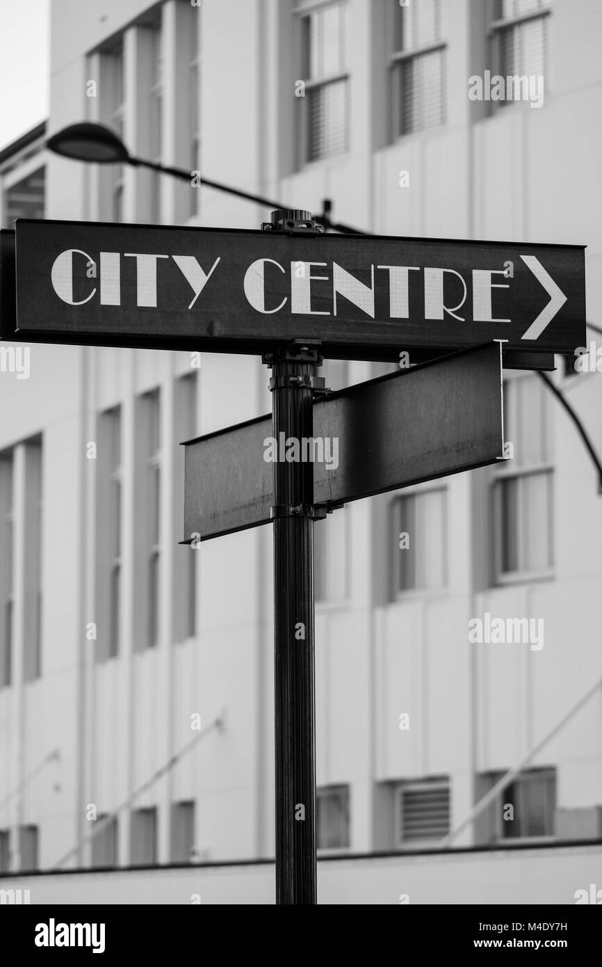 City centre sign - Stock Image
