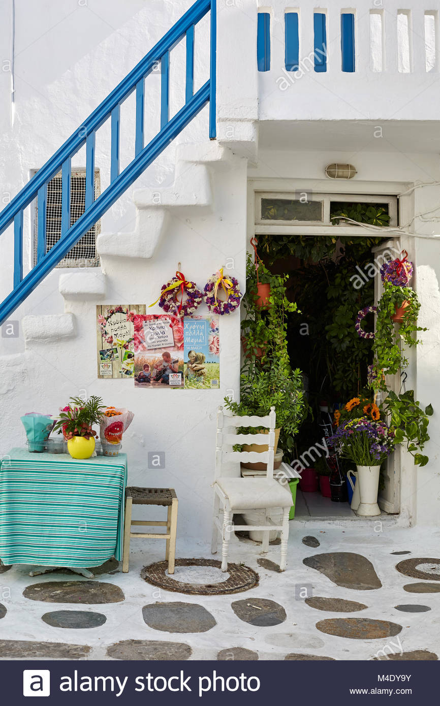 Mykonos greece flower stock photos mykonos greece flower stock white walled flower shop mykonos greece stock image mightylinksfo